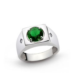 Men's Ring 925 k Sterling Silver Natural DIAMONDS and 4 ct Green Emerald 69767 #eJOYA #Statement