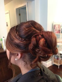 Prom hair- long hair braided updo