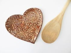 Heart Spoon Rest   Lace Dish  Brown pottery by ShoeHouseStudio
