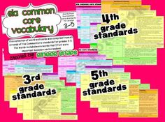 ELA Common Core Vocabulary Cards Grades 3-5