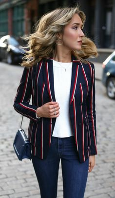 *SALE ENDS TONIGHT!* This navy, red and white classic blazer is included!  Business casual look with dark wash skinny jeans, navy patent pointy toe pumps, silver circle statement hoop earrings, cropped chunky knit sweater and timeless blazer {willow and clay, phillip lim, victoria beckham, argento vivo, and rag and bone}