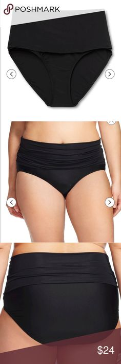 New swim bottom with fold over waist Make a style statement at the beach or pool with these Women's Plus Size Ultra High Waist Swim Bottoms in Black from Ava & Viv. They feature shirring, high, fold over waistband and pair perfectly with your favorite tankini or bikini top. Swim Bottom Style: Brief Garment Details: Fold over waistband Material: 82% Nylon, % 18 Spandex, Closure Style: Pull on Ava & Viv Swim One Pieces