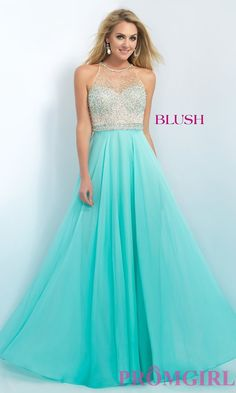 Image of floor length sleeveless illusion sweetheart embellished bodice a-line dress Style: BL-11089 Front Image