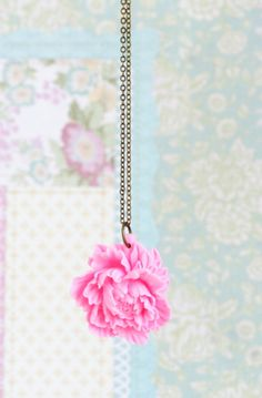 Pink Peony Necklace - Pink Jewelry -  Pink Floral Pendant, Mothers Day Gift Idea.