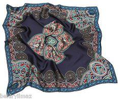 Dark Blue Hijab %100Turkish Silk BALSE SCARVES