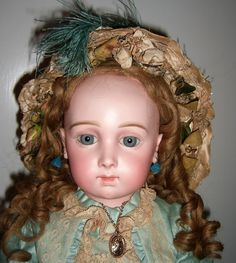 """25"""" Antique Triste Jumeau Doll with RARE eyes, early 8 loose ball body from…"""