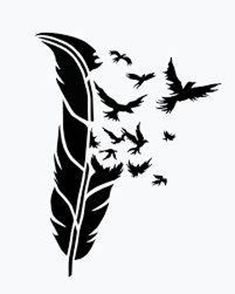 BIRDS of a FEATHER stencil airbrush tattoo. Feather Stencil, Stencil Art, Animal Stencil, Bird Stencil, Tattoo Feather, Stenciling, Silhouette Art, Silhouette Projects, Silhouette Portrait