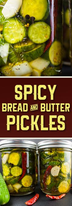 Spicy Bread and Butter Pickles - Spicy, sweet and extra crunchy! A Wickles Pickle copycat from scratch. Spicy Bread And Butter Pickle Recipe, Spicy Pickle Recipes, Crispy Pickles Recipe, Bread & Butter Pickles, Cucumber Recipes, Canning Recipes, Sweet Garlic Pickles Recipe, Crunchy Pickle Recipe, Butter Recipe