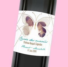 Étiquette de bouteille mariage personnalisable pour ajouter une touche de finesse lors de votre repas de noces, réf.N300913