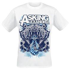 "Classica T-Shirt uomo bianca ""Bear Skull"" degli #AskingAlexandria."