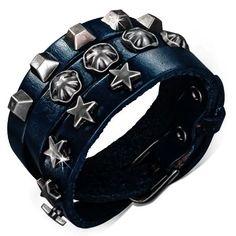 Dlouhý kožený náramek, vyrobený z pravé kůže v temně modré barvě Bracelet Cuir, Cuff Bracelets, Bicycle Helmet, Fashion Bracelets, Hats, Leather, Jewelry, Ideas, Bracelet