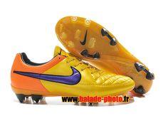 Nike Tiempo Legend V FG Chaussures de football Jaune Orange Violet 4515