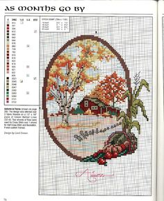 """""""As Months Go By: Autumn"""" by Carol Emmer. Free sewing pattern graph."""