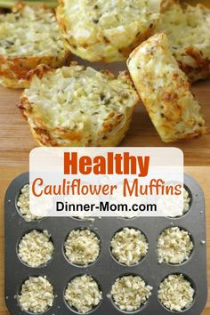 This Cauliflower Muffins recipe is PACKED with veggies--not with grains or flour! Perfect for a healthy, low-carb snack or side with breakfast or dinner. Low Carb Soup Recipes, Vegetarian Recipes Dinner, Gluten Free Recipes, Cooking Recipes, Supper Recipes, Diet Recipes, Recipies, Healthy Low Carb Snacks, Low Carb Desserts
