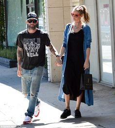 Just the two of us: Once again, Behati and Adam looked very loved up as they walked around...