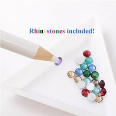 cool JVVN 2 x Rhinestone Picker Pencil Pen Tool For Nail Art / Crafting With Bonus