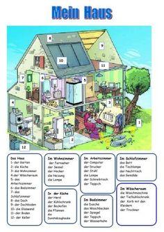 DAS HAUS: Ein Beispiel aus der Web-Seite de.islcollective.com, wo man superschöne Arbeitsblätter für DaF Unterricht finden kann