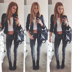 Leather jacket , white crop top , skinny jeans , black boots