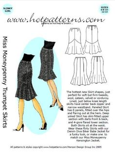 Image detail for -Hot Patterns Miss Moneypenny Trumpet Skirts pattern by HotPatterns