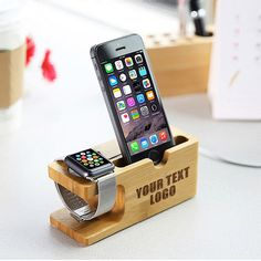 Custom Laser Engraved Natural Wood iPhone Docking Station Apple Watch Dock Samsung Galaxy Gear Smartphone Holder Personalized Christmas Gift by HSApparel on Etsy https://www.etsy.com/uk/listing/293032139/custom-laser-engraved-natural-wood