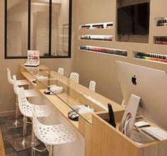 Home Nail Salon, Nail Salon Design, Nail Salon Decor, Beauty Salon Decor, Beauty Salon Interior, Beauty Salon Design, Hair And Nail Salon, Makeup Salon, Interior Design Books