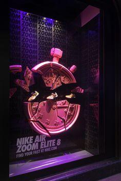 NIKE Window Display | Nike Air Elite Zoom 8 at Harrods, London, 2015 by Millington Associates #nikezoom #windowdisplays #retailwindows #vm