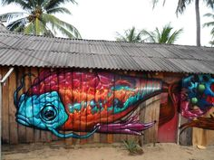 "Street art   Mural ""Policromía"" (El Bejuco, Michoacán, Mexico, 2014) by Farid Rueda"