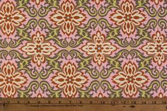 "This listing is for one yard of out-of-print cotton fabric. Like all of our fabrics here at OOPs, this has been discontinued by the manufacturer and is hard to find.  Manufacturer: Rowan Designer: Amy Butler Collection: Lotus Fabric Name: Temple Garland Fabric Number: AB20 in Pink Material: 100% first quality quilting weight cotton, 44/45"" wide, new and unwashed  To order more than one yard, use the dropdown menu under quantity. All available yardage is listed. Multiple units are cut as ..."