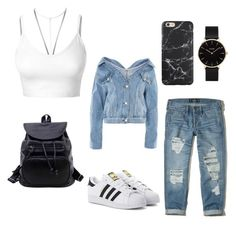 """Casual Style"" by beattakhansa on Polyvore featuring Topshop, LE3NO, Hollister Co., adidas Originals and CLUSE"