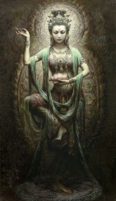Art painting by Zeng Hao Chinese 1963  the goddess of mercy Guan Yin. artwork