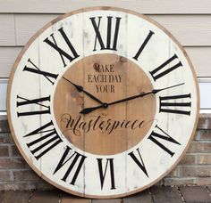 Oversized Wall Clocks Large Wall Clocks Wall by FunCoolWallClocks Extra Large Wall Clock, Giant Wall Clock, Wooden Clock, Clock Art, Diy Clock, Clock Decor, Farmhouse Clocks, Rustic Farmhouse Decor, Pallet Clock