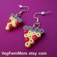 Gold Dangling Earrings with Pepperoni Pizza Perler by VegFemiMom
