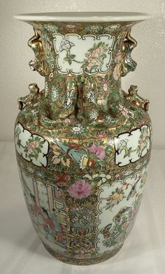 Antique Cantonese Famille Rose Vase Early 19th Century  #Cantonese