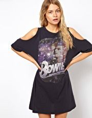 ASOS T-Shirt Dress With Cold Shoulder In Bowie Print