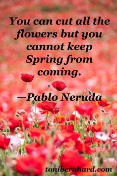 from the poet Pablo Neruda. You cannot keep Spring from coming...