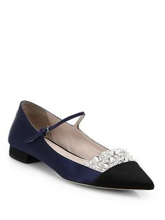 Miu Miu Jeweled Satin Point Toe Mary Jane Flats. Shop it and 19 other chic Mary Jane shoes.