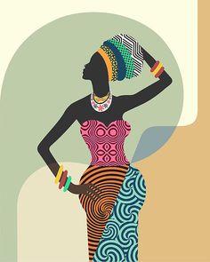 Femme africaine Art africain mural décoration murale par iQstudio