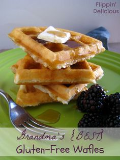 Grandma's gluten-free waffles really are the best. Crispy on the outside, and fluffy on the inside. You wouldn't believe they are gluten-free. They have great texture and quite a nice bite to them. This is my favorite recipe! Gluten Free Recipes For Breakfast, Gluten Free Breakfasts, Gluten Free Cooking, Gluten Free Desserts, Waffle Recipes, Gf Recipes, Dairy Free Recipes, Keto, Dairy Free Waffles