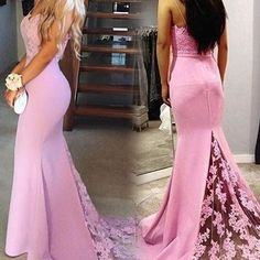 Elegant spaghetti straps sweep train pink mermaid prom dress with lace appliques
