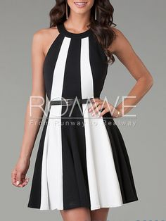White Black Sleeveless Color Block Flare Dress 13.99