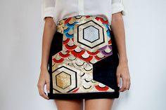 DIY japanese obi panel skirt 1 by apairandaspare, via Flickr