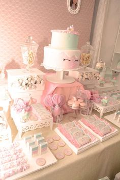 What a pretty pink candy birthday party! See more party ideas at CatchMyParty.com!