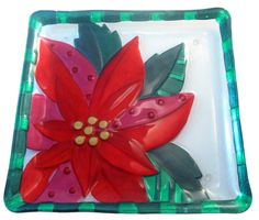 Colorz4you - Poinsettia Glass Fusion Plate by Lori Siebert, $28.95 (http://www.colorz4you.com/poinsettia-glass-fusion-plate-by-lori-siebert/)