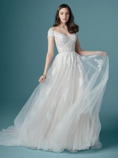 25804 - Natalie - This off shoulder wedding gown is pure romance! Try her at Aurora Bridal in Melbourne, FL 321-254-3880 How To Dress For A Wedding, Perfect Wedding Dress, Wedding Dress Necklines, Flattering Wedding Dress, Illusion Neckline Wedding Dress, Bateau Neckline, Maggie Sottero Wedding Dresses, Lace Ball Gowns, Wedding Dress Pictures