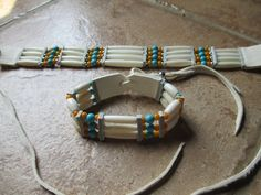 Your place to buy and sell all things handmade White Sage Smudge, Ribbon Shirt, Beaded Necklaces, Turquoise Beads, Mustard Yellow, Silver Beads, White Leather, Bones, How To Look Better