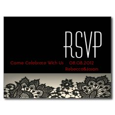 elegant black Lace beige vintage wedding RSVP Postcard