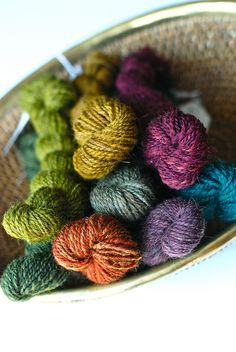 handspun wool yarn.  Just enough color variation to be interesting, but still solid enough to use in colorwork.