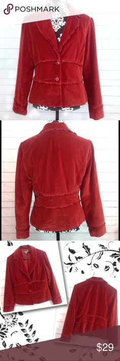 """Apt. 9 Rust Velveteen Blazer Size 12 Excellent condition!  Apt 9 deep rust colored velveteen blazer.  Size 12.  Bust measures 20"""" across.  Length armpit to hem 13.5"""".   ✔️Please ask all questions before you purchase! I'm happy to help! ✔️Please see measurements in the description so you can best judge the fit BEFORE you purchase!  🔹No trades or holds, but I happily consider offers via the Offer Button! 🔹Bundle for best prices. Use bundle button feature or ask for custom bundle!  💙Happy…"""