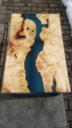 Epoxy resin table, epoxy resin, coffee table, burned wood, Blue transparent epoxy river, rustic coff