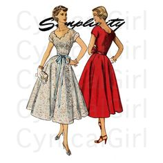 1950sEvening Dress Pattern Simplicity 4295 Bust 32 by CynicalGirl, $26.00